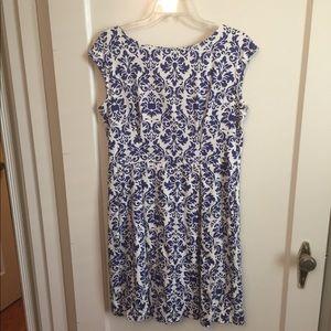 ModCloth Damask print blue & white dress sz 16
